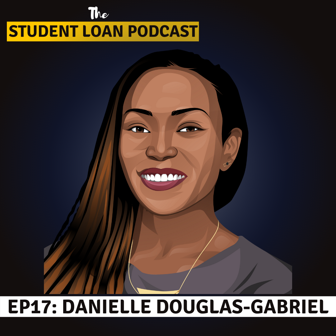 Cartoon Graphic of Danielle Douglas-Gabriel for Episode 17 of the Student Loan Podcast