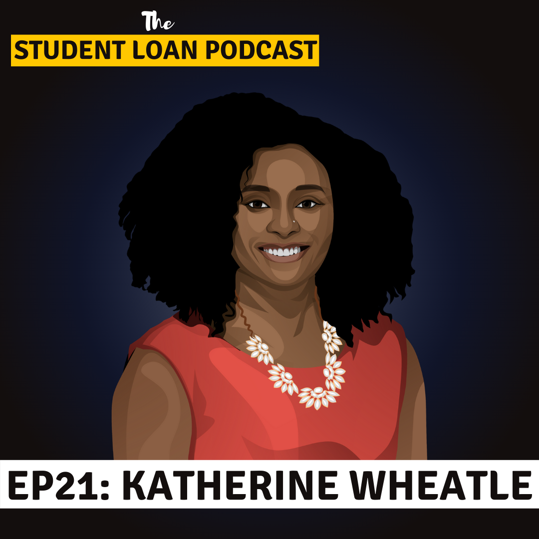 Cartoon Graphic of Katherine Wheatle for Episode 21 of the Student Loan Podcast