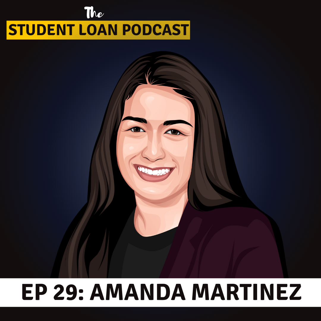 Cartoon Graphic of Amanda Martinez for Episode 29 of the Student Loan Podcast