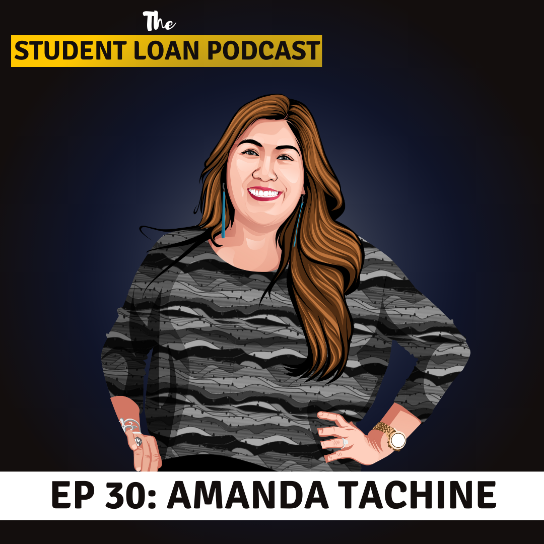 Cartoon Graphic of Amanda Tachine for Episode 30 of the Student Loan Podcast