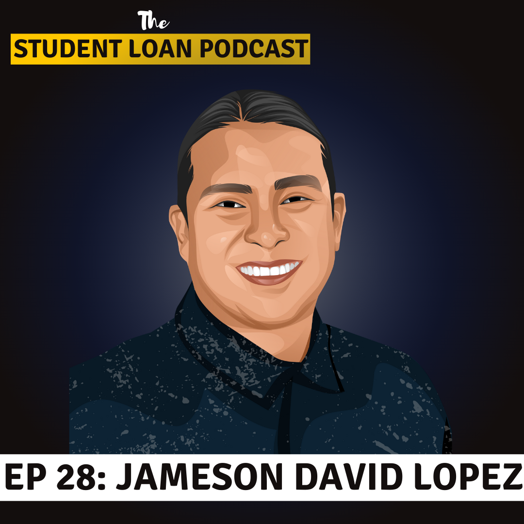 Cartoon Graphic of Dr. Jameson David Lopez for Episode 28 of the Student Loan Podcast
