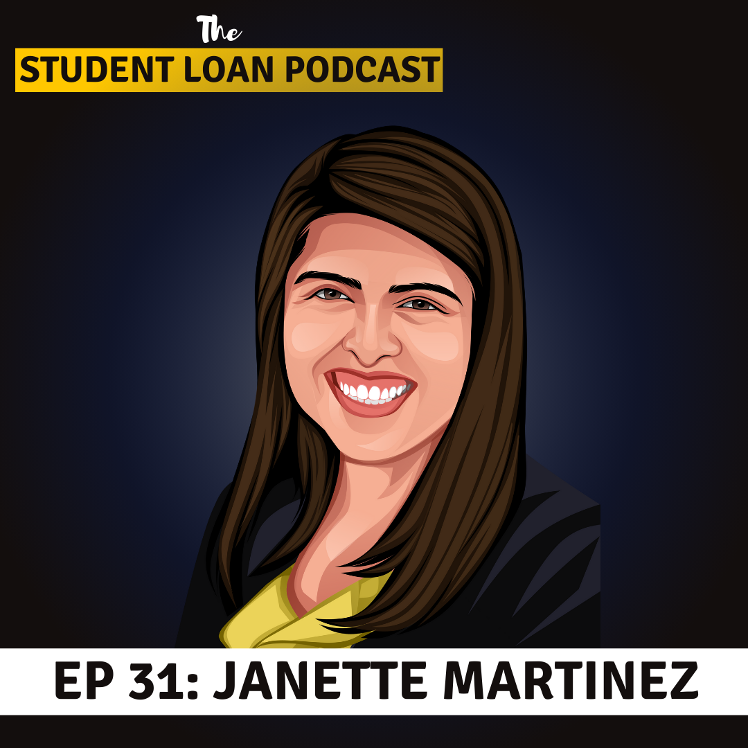 Cartoon Graphic of Janette Martinez for Episode 31 of the Student Loan Podcast