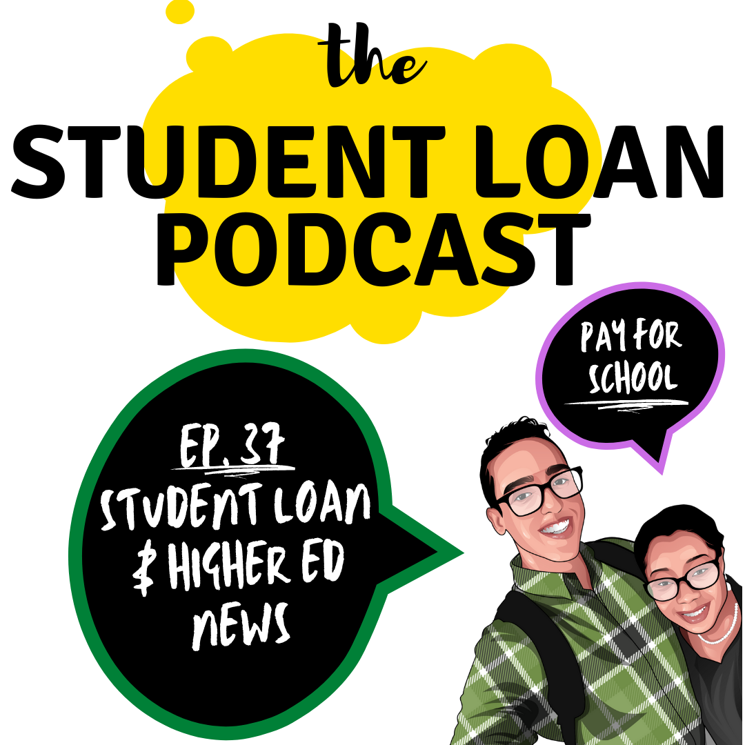 Cartoon Graphic of Co hosts Daphné Vanessa and Shamil Rodriguez for Episode 37 of the Student Loan Podcast