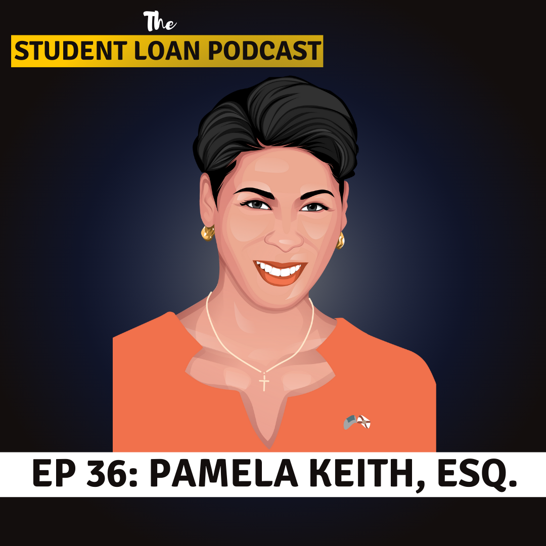 Cartoon Graphic of Pamela Keith Esquire for Episode 36 of the Student Loan Podcast