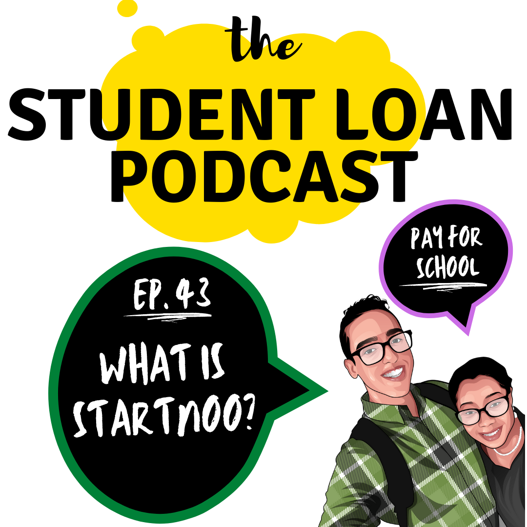 Cartoon Graphic of Co hosts Daphné Vanessa and Shamil Rodriguez for Episode 43 of the Student Loan Podcast