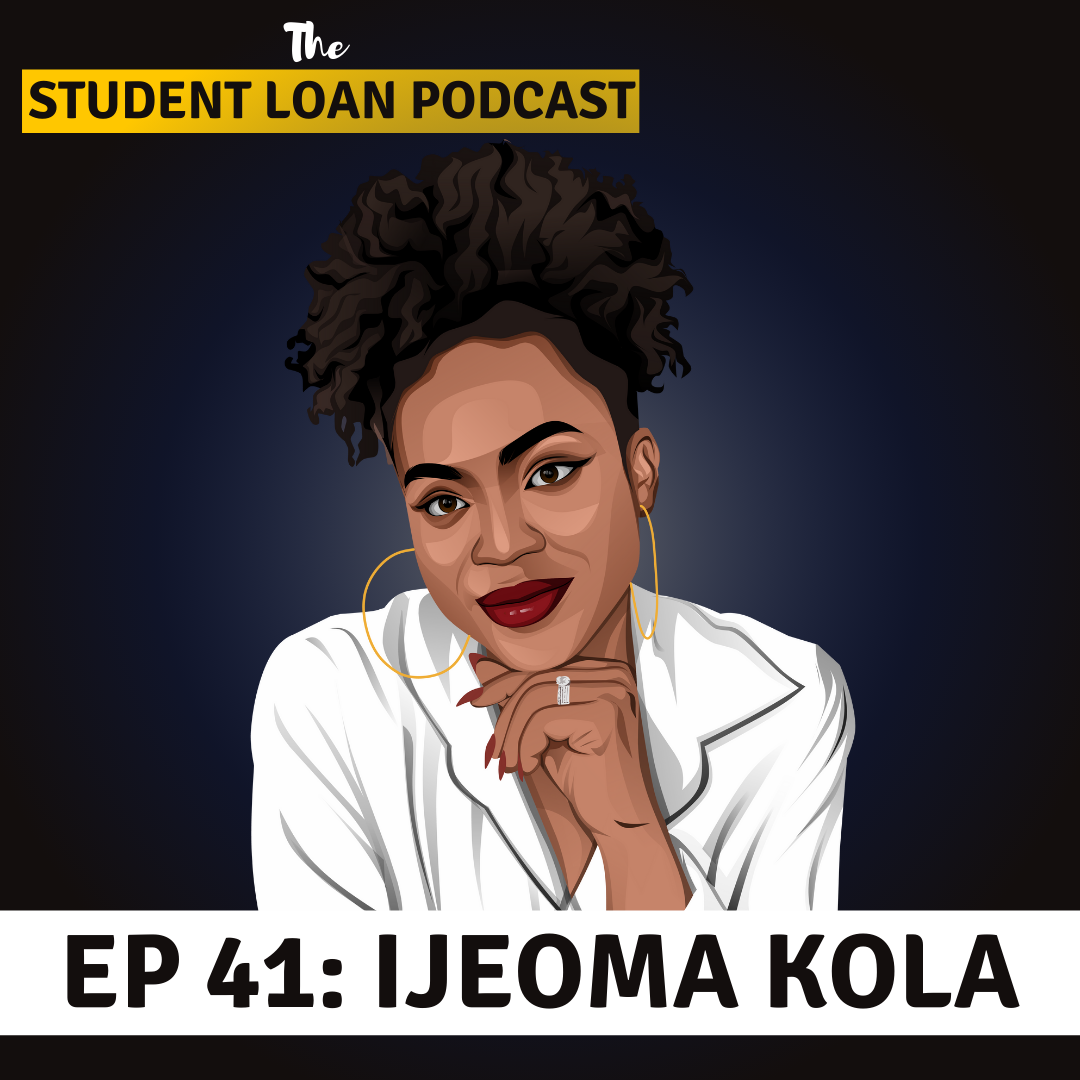 Cartoon Graphic of Ijeoma Kola for Episode 41 of the Student Loan Podcast